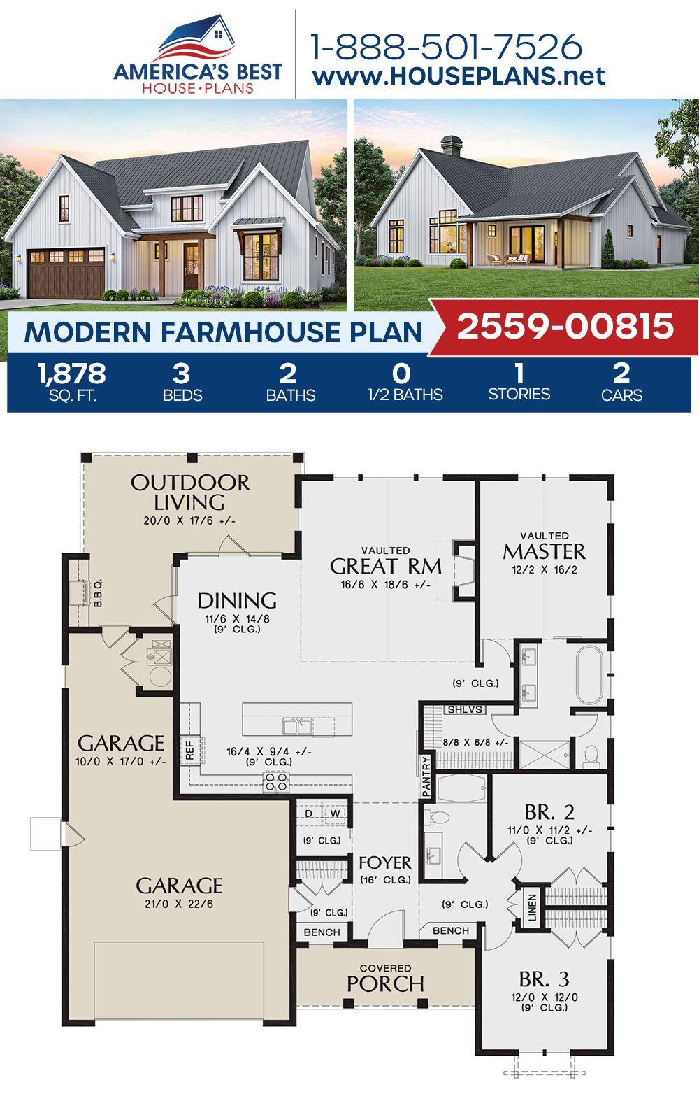 House Plan 2559 00815 Modern Farmhouse Plan 1 878 Square Feet 3 Bedrooms 2 Bathrooms In 2020 Modern Farmhouse Plans Farmhouse Plans Farmhouse Floor Plans
