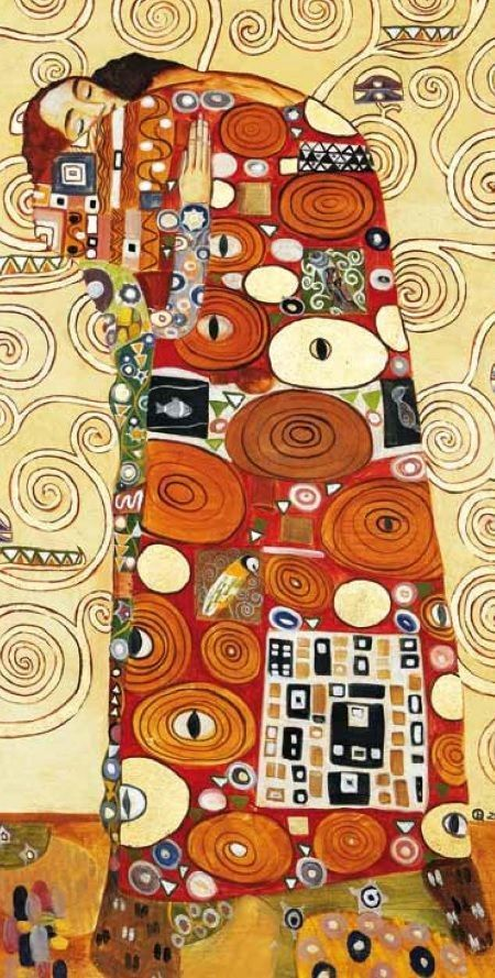 Cuadro El Abrazo De Klimt En ámbar Muebles Klimt Art Gustav Klimt Art Klimt