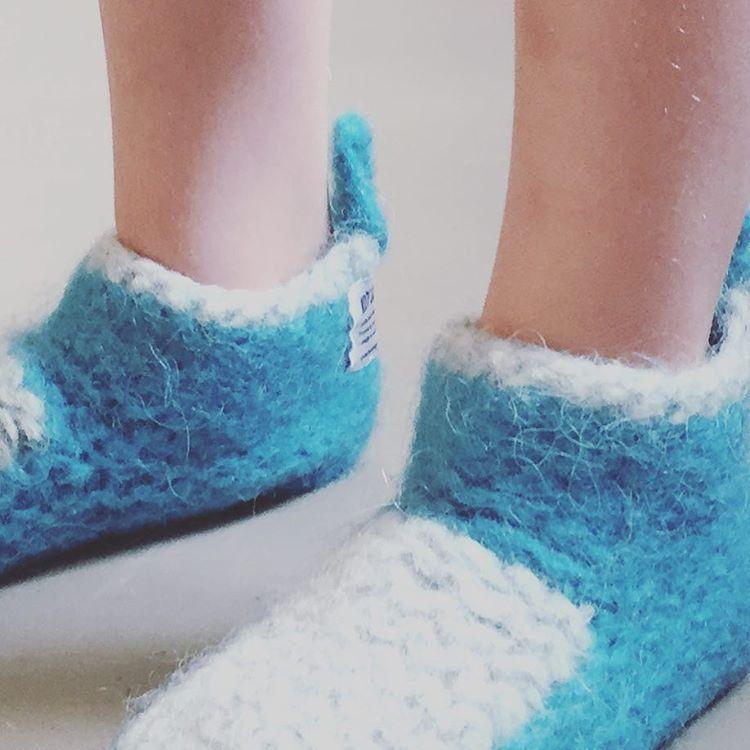 Slip on wool booties for kids