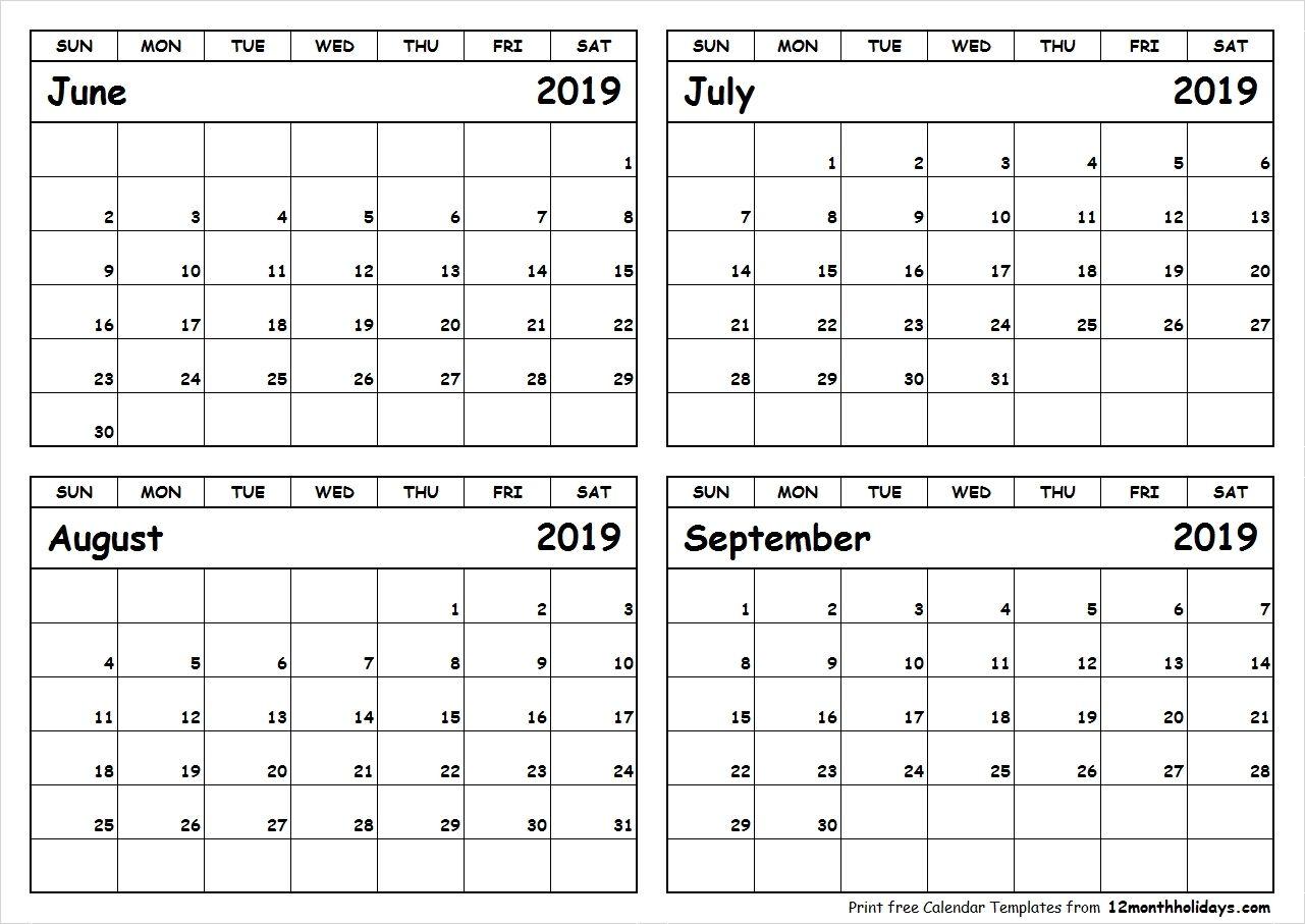 Calender 2019 Juli August September Calendar 2019 Template June