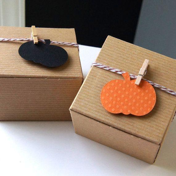 Kit de 12 Favor citrouille de boîte. 3 x 3 x 2 boîte par scrapbits