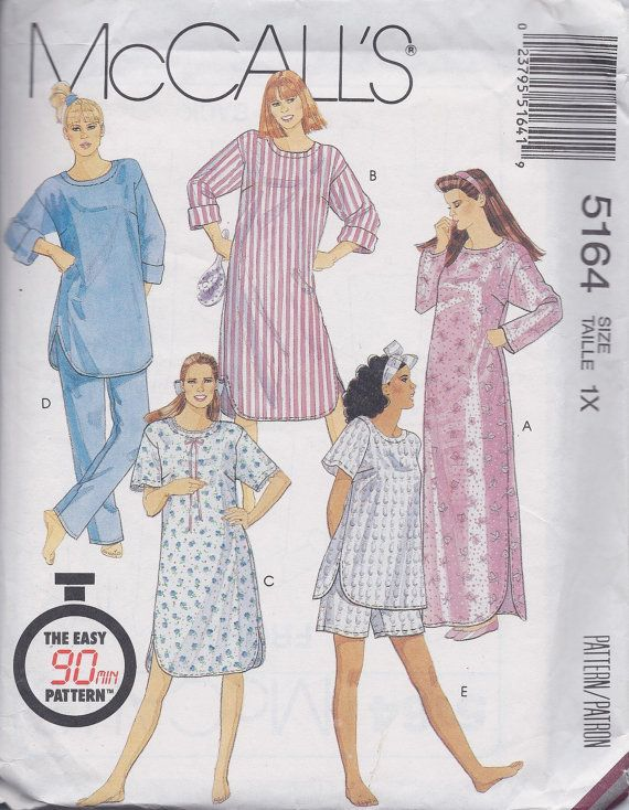 McCalls 5164 Women's Sleepwear Nightshirt Pajamas by ReduxPatterns (Craft Supplies & Tools, Patterns & Tutorials, Sewing & Needlecraft, Sewing, women, plus size, sewing pattern, pull on pants, pants, top, nightgown, nightshirt, tunic, sleepwear, loungewear, pajamas, pattern)