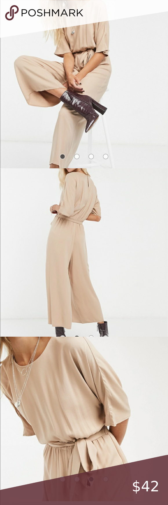 Photo of ASOS DESIGN tie waist jumpsuit in stone NWT