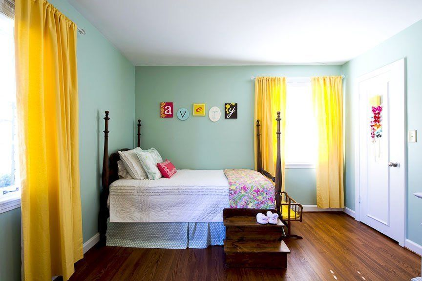 beautiful color combo and a fun older girl's room or guest room!
