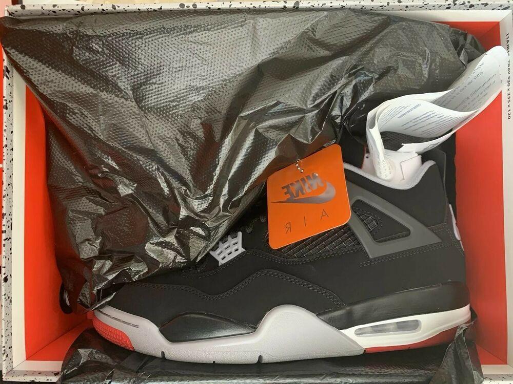 Nike Retro Air Jordan 4 Bred Size 10 New W Receipt Travis Scott