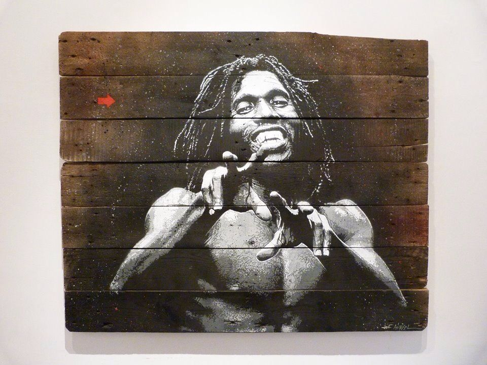 """by Jef Aerosol - Piece on wood """"Brooklyn rasta"""" - For solo show """"Anony(fa)mous"""" in Rome, Italy - 01.06.2014"""