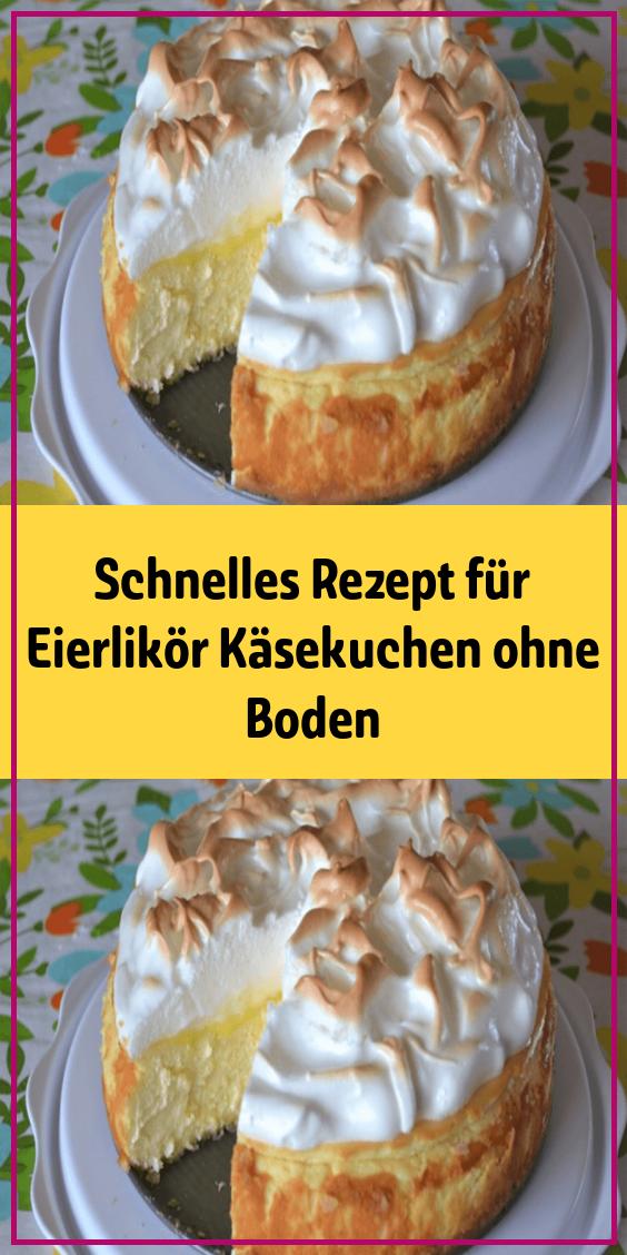 Schnelles Rezept für Eierlikör Käsekuchen ohne Boden #kuchenkekse
