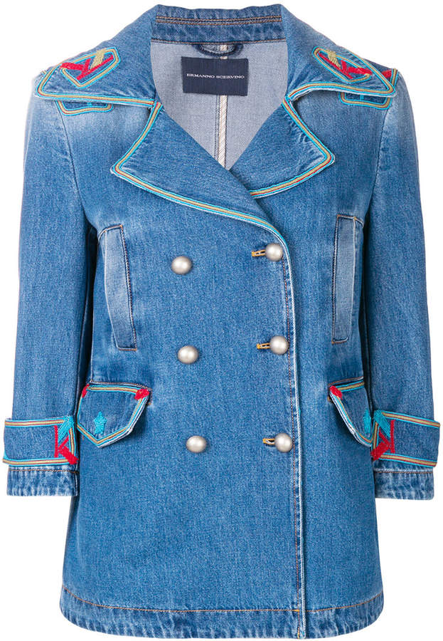7a4bdc9323b5 Ermanno Scervino contrast embroidered denim jacket | Products ...