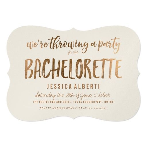 Gold Shimmer Chic Bachelorette Party Invitation   Pinterest ...