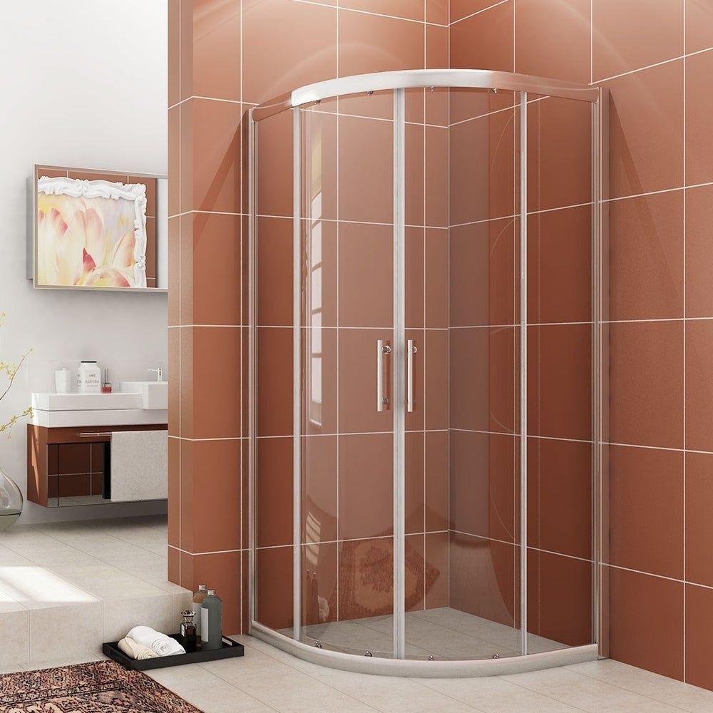 Frameless Neo Round Corner Shower Door Clear Glass Silver In 2020