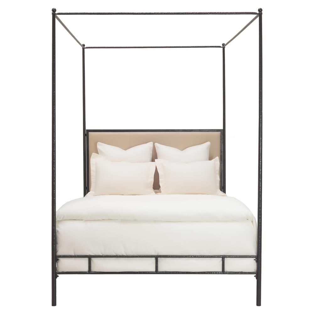 Oly Studio Marco Hammered Bronze Leather Canopy Bed Cal King Headboards For Beds Cal King Bedding Oly Studio