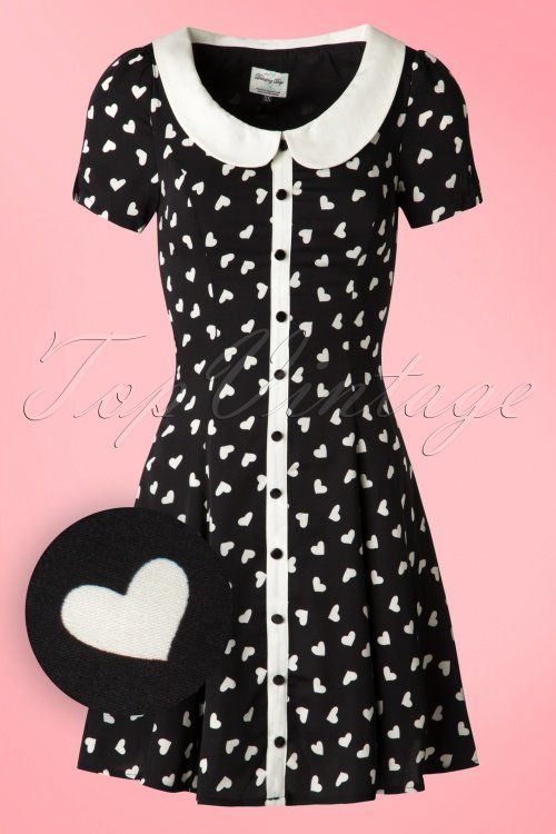 5ea91f4b8f7 Dancing Days by Banned - 60s Abby Hearts Dress in Black and Ivory