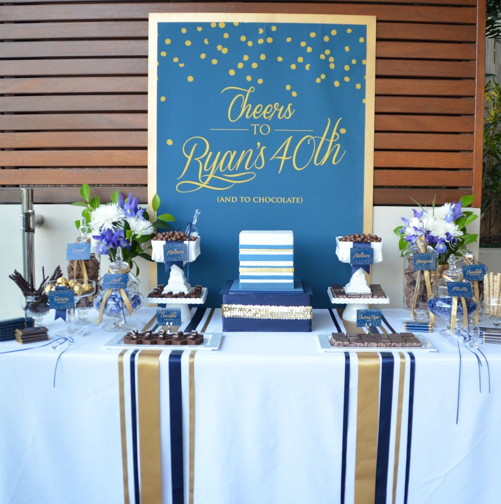 Birthday Party Buffet Table: Navy And Gold 40th