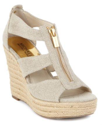 f6397ed09b8 Michael Michael Kors Damita Platform Wedge Sandals - Tan Beige 9M ...