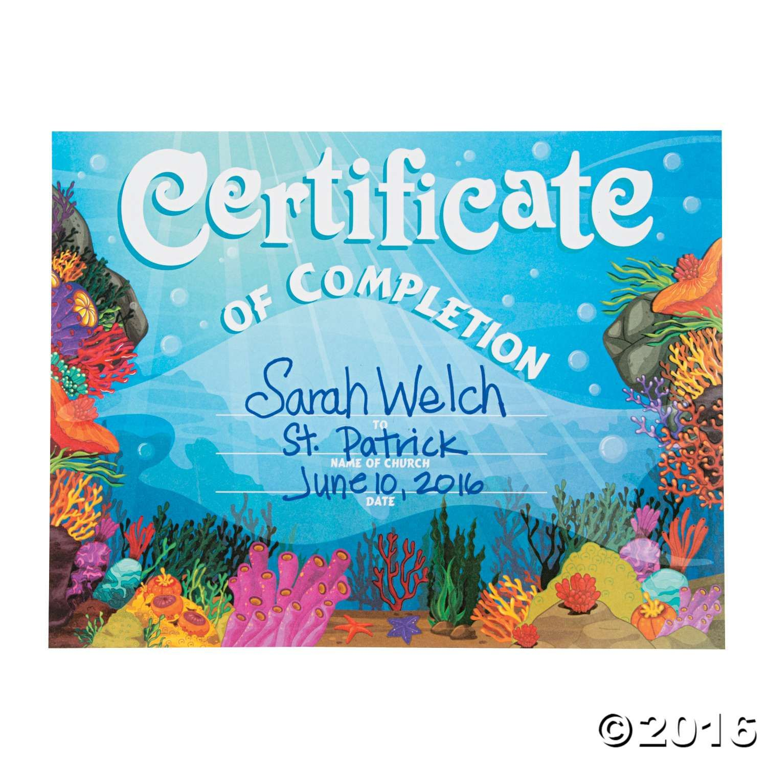 Under The Sea Certificates Of Completion