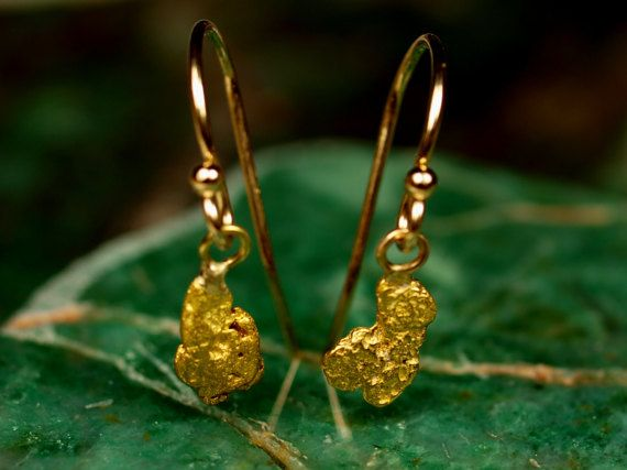 Raw Gold Nugget Dangle Earrings Natural Gold Nugget Jewelry 14k