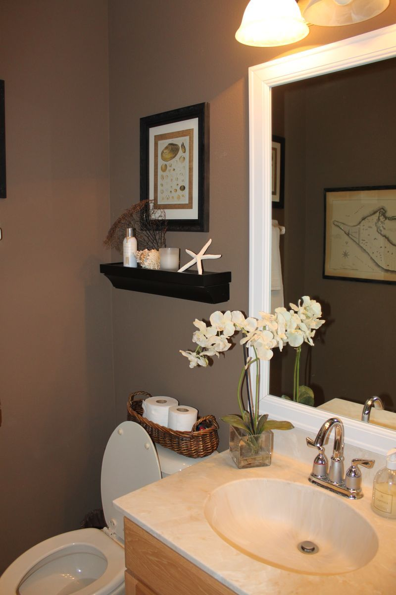 Makeover monday the powder room in 2019 chaney 39 s board - Bathroom color schemes brown and teal ...