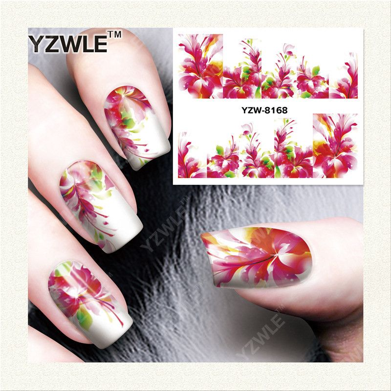 YZWLE 1 Sheet DIY Nails Art Decals Water Transfer Printing Stickers ...
