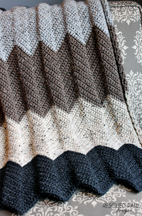 Neutral Chevron Crochet Blanket Pattern | Color, Manta y Tejido