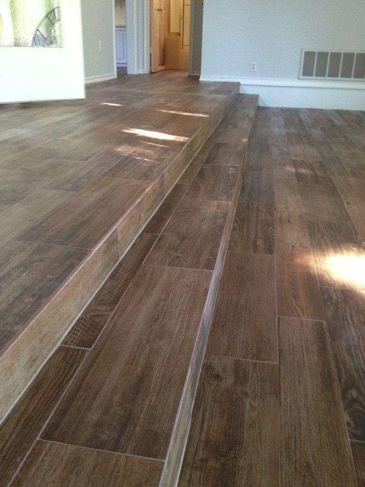 All Flooring Install Photos Ceramic Floor Tile Wood Tile Floors | Wood Grain Tile On Stairs | Natural Wood | Contemporary | Basement | Upstairs | Subway Tile
