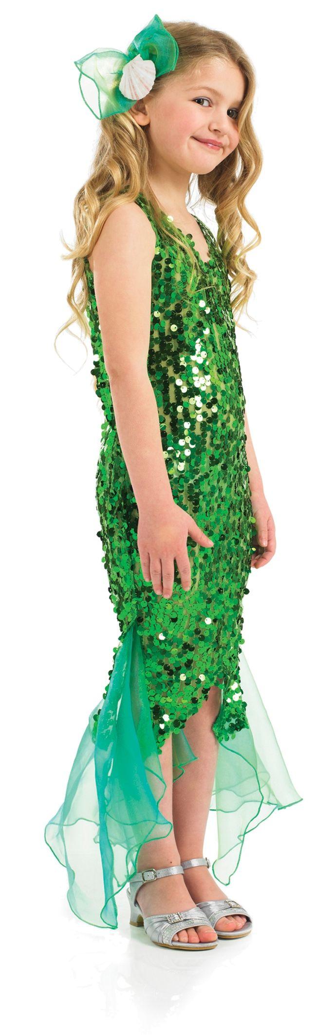 b64aadb5979b Little Mermaid Girls Fancy Dress Green Sequin Ariel Fairytale Kids ...