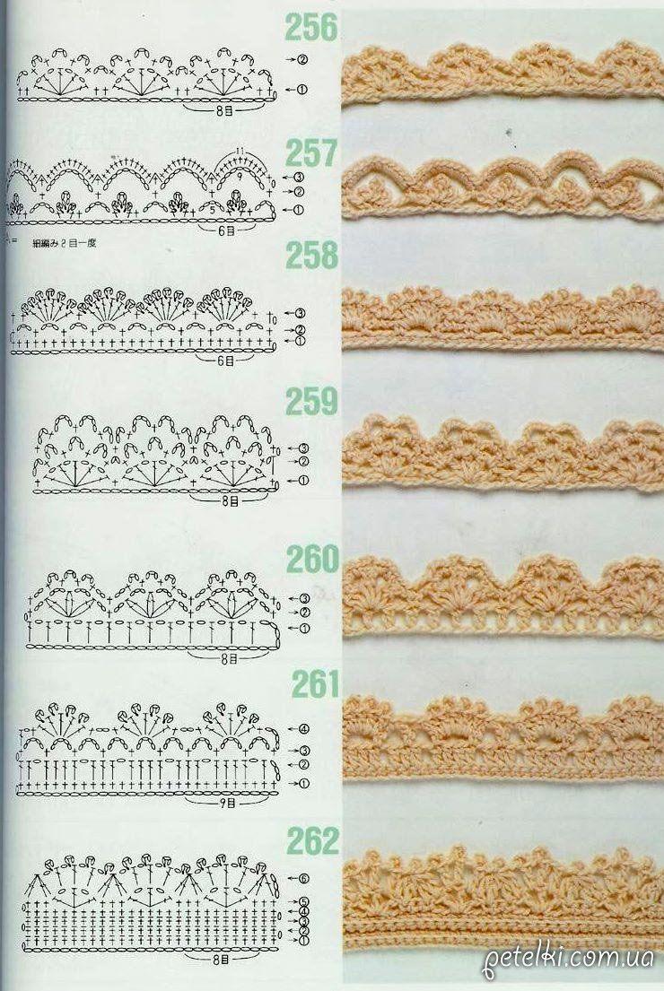 схемы обвязки края | вязание крючком | Pinterest | Crochet, Crochet ...