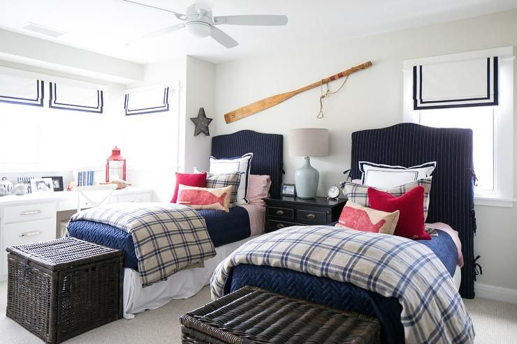 Well Appointed Red And Blue Nautical Boys Bedroom Features