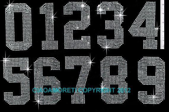 Sheet of Large Numbers 0-9 Clear Rhinestone Iron on Transfer Hot Fix Bling
