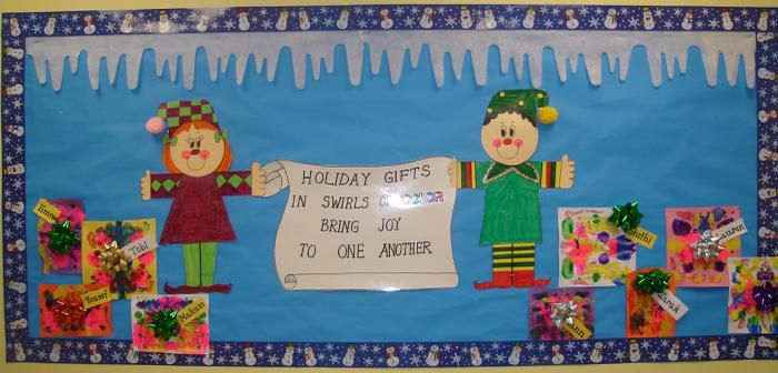 Elves Presents Winter Themed Bulletin Board Idea