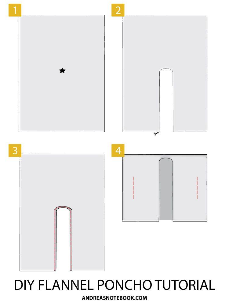 DIY Poncho Tutorial | Patrones | Pinterest | Ponchos, Ponerse y Molde