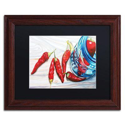 Alcott Hill Ball Jar Peppers Framed Painting Print Size: 1