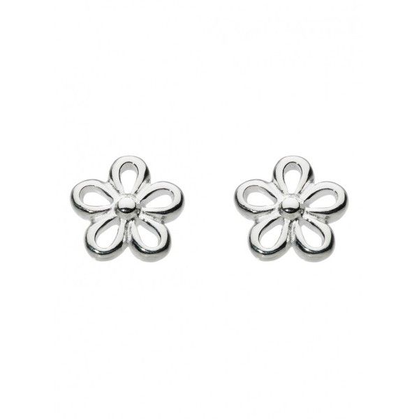 Dew Sterling Silver Simple Flower Stud ($16) ❤ liked on Polyvore