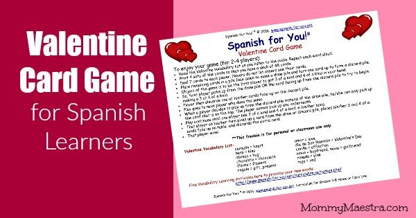 FREE Valentine Card Game for kids learning Spanish Learn 16 words - valentines cards words