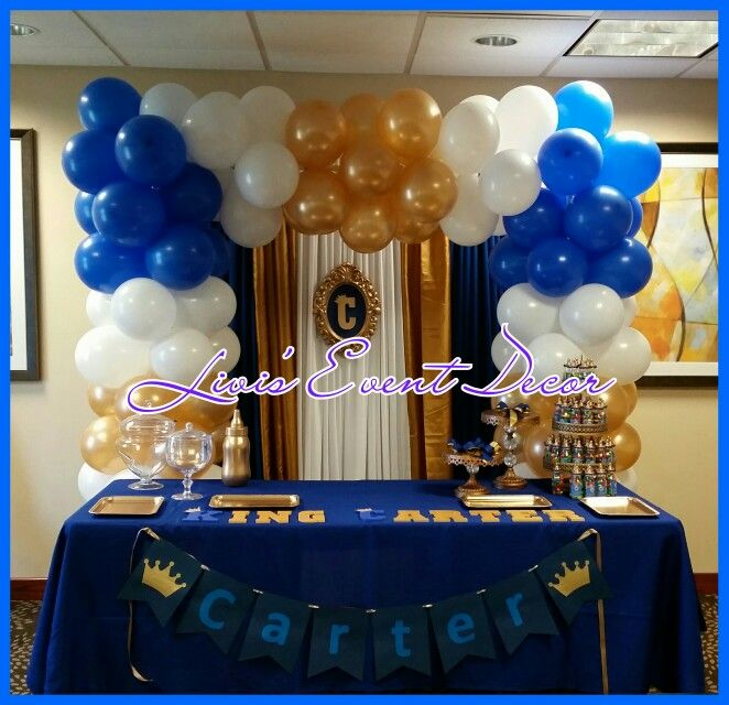 Balloon Arch With Cake Table Decor Baby Shower Cake Table Royal Baby Showers Gold Baby Showers
