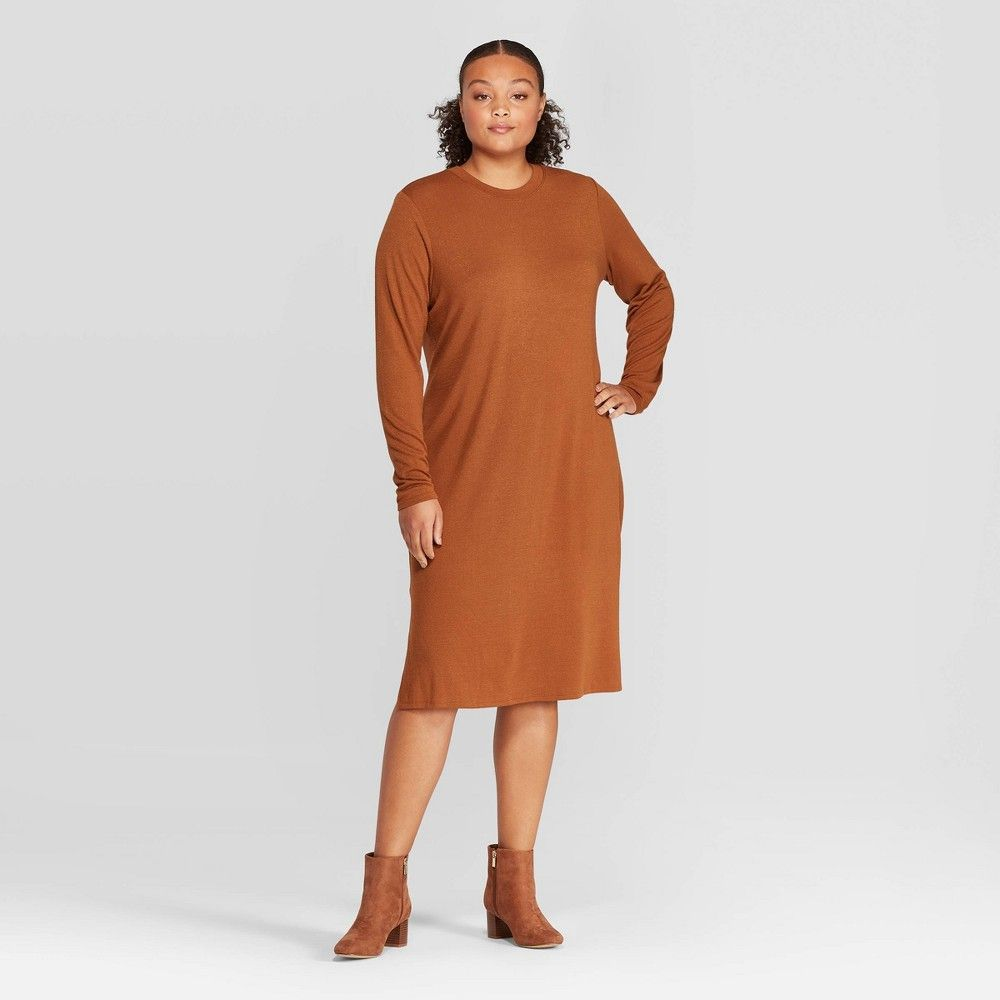 Women S Plus Size Long Sleeve Crewneck Essential Knit Midi Dress Prologue Brown 4x The Long Sleeve Crewneck Essential Knit Midi Dress Plus Dresses Knit Midi [ 1000 x 1000 Pixel ]