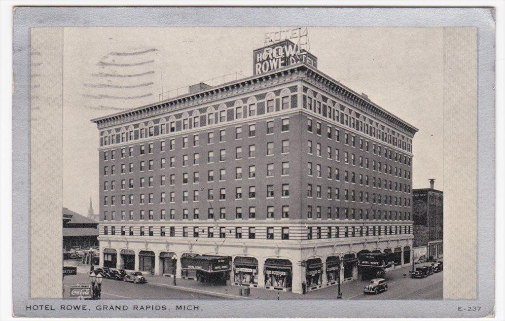 Grand Rapids Michigan Hotel Rowe 1938 Silver Border Postcard Grand Rapids Grand Rapids Michigan Grand Rapids Mi