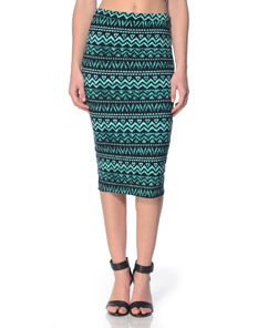 Matty M Tribal Black Jade Pencil Skirt