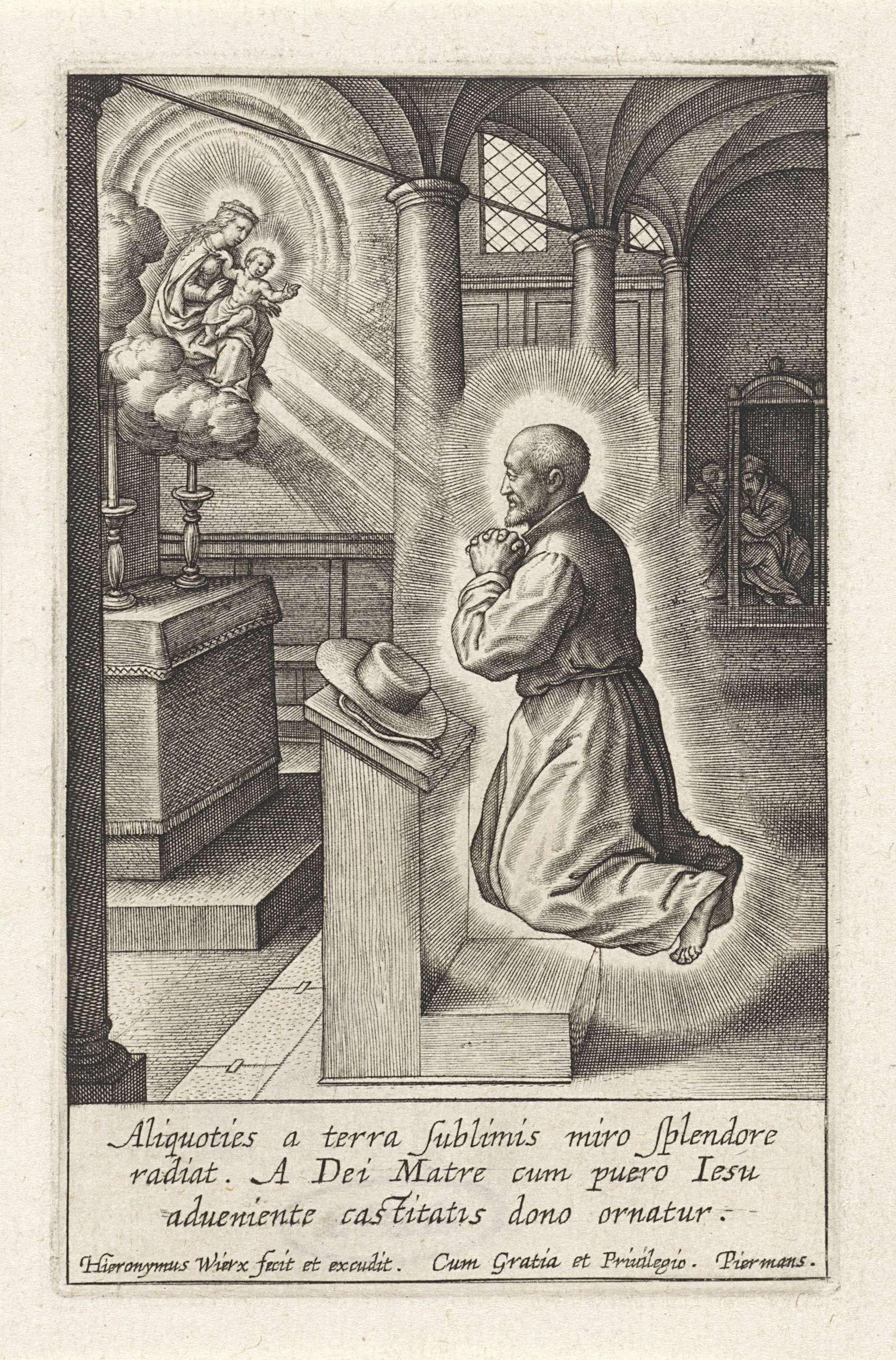 Hieronymus Wierix   Ignatius van Loyola heeft een visioen van Maria met het Christuskind, Hieronymus Wierix, 1611 - 1615   Ignatius van Loyola, zwevend voor een altaar in een kerk. Hij is in gebed en krijgt een visioen van Maria en het Christuskind op de wolken. Het Kind maakt een zegenend gebaar. In de marge een drieregelig onderschrift in het Latijn.