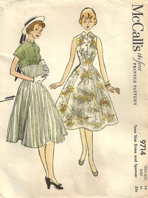 McCalls 9714 Vintage 50s Sewing Pattern Dress And Jacket Size 14 ...