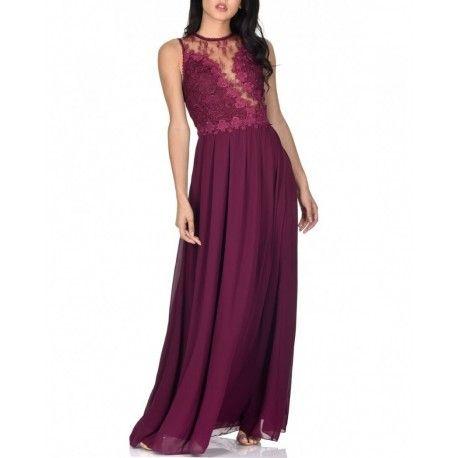 3c1bad0f4b Bordowa długa szyfonowa sukienka dla świadkowej z koronkową górą ...