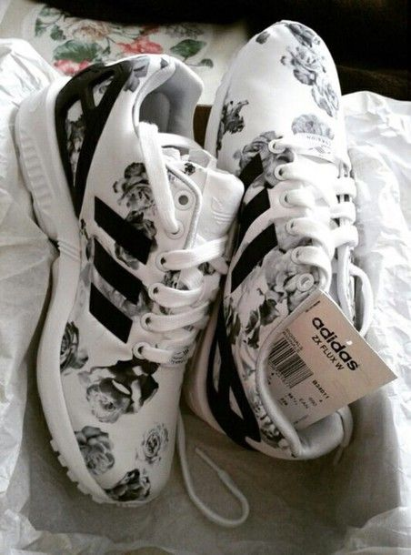 shoes adidas zx flux flowers black white floral sneakers jeans  6c06f9eada4