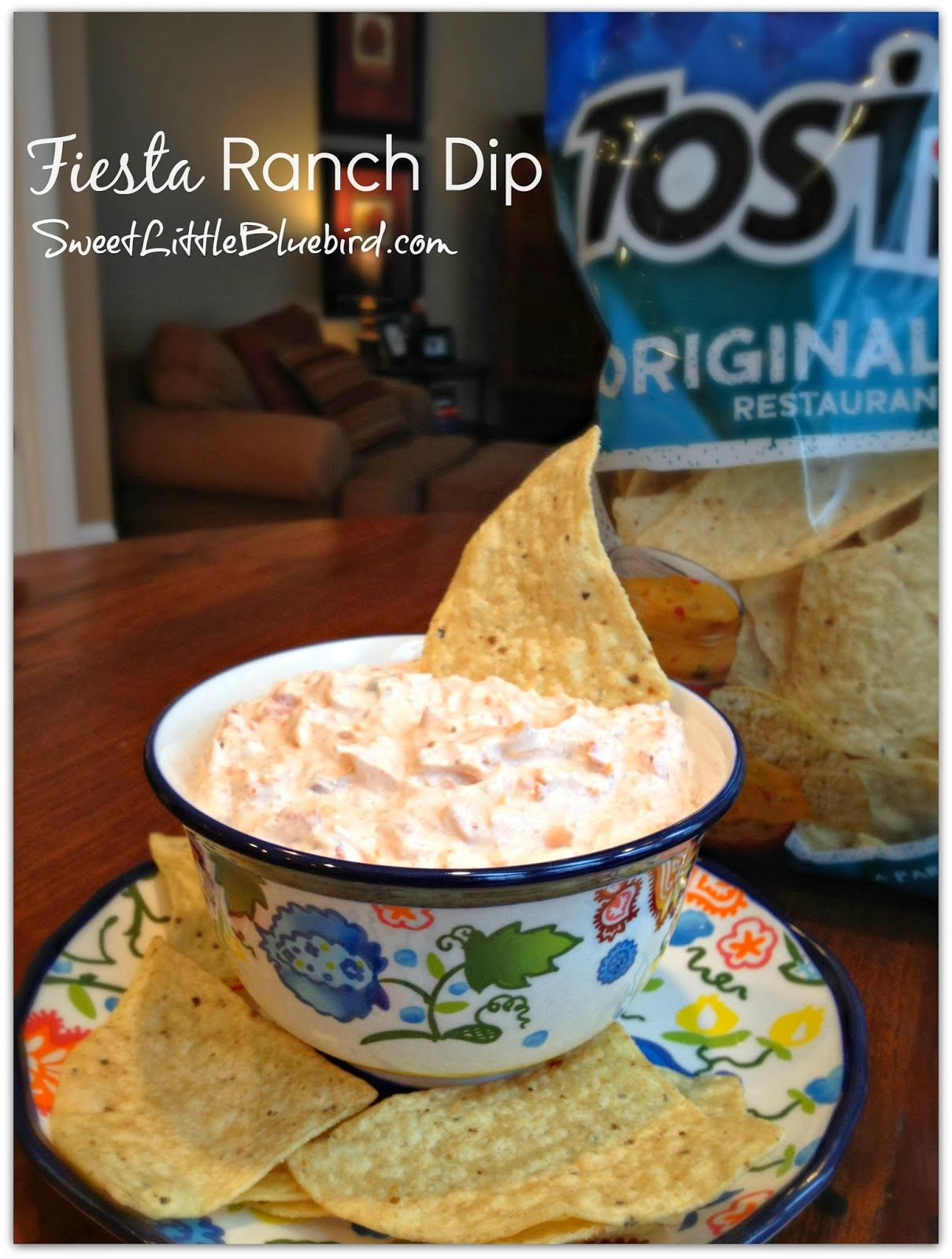 Fiesta Ranch Dip 1 packet Hidden Valley Fiesta Ranch Dip 10 ounce can Rotel Original (drain excess liquid) 16 oz sour cream 1 cup finely shredded cheddar cheese Mix all ingredients in a medium size bowl. Chill in fridge for 1 hour. Enjoy!!!