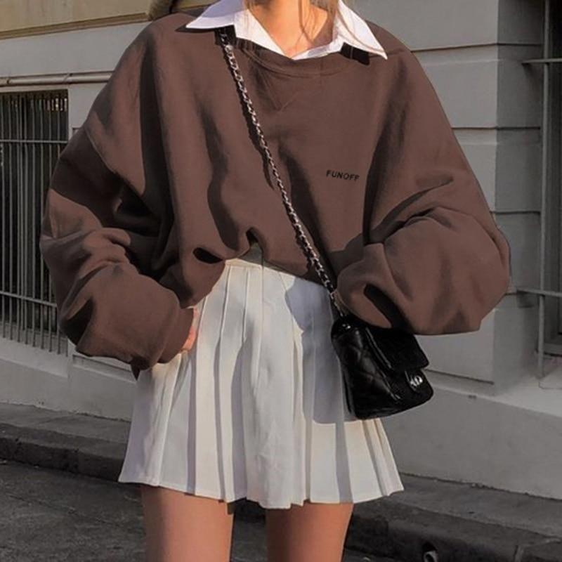 Indie Aesthetic Brown Oversized Sweatshirt