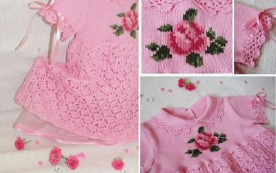 Robe rose avec Crochet Pattern - Crochet bébé