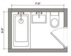 5x7 bathroom.. To 6x7 bathroom.. Add 1 foot to bathtub length ...