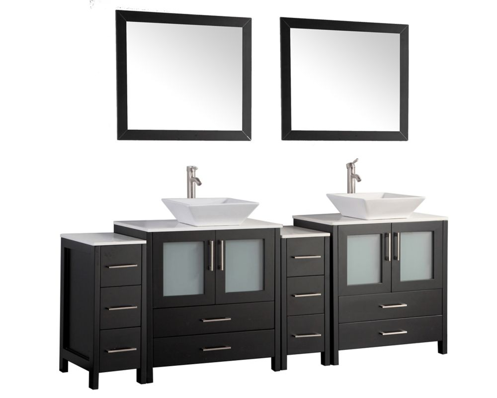 Ravenna 84 Inch Bathroom Vanity In Espresso With Double Basin