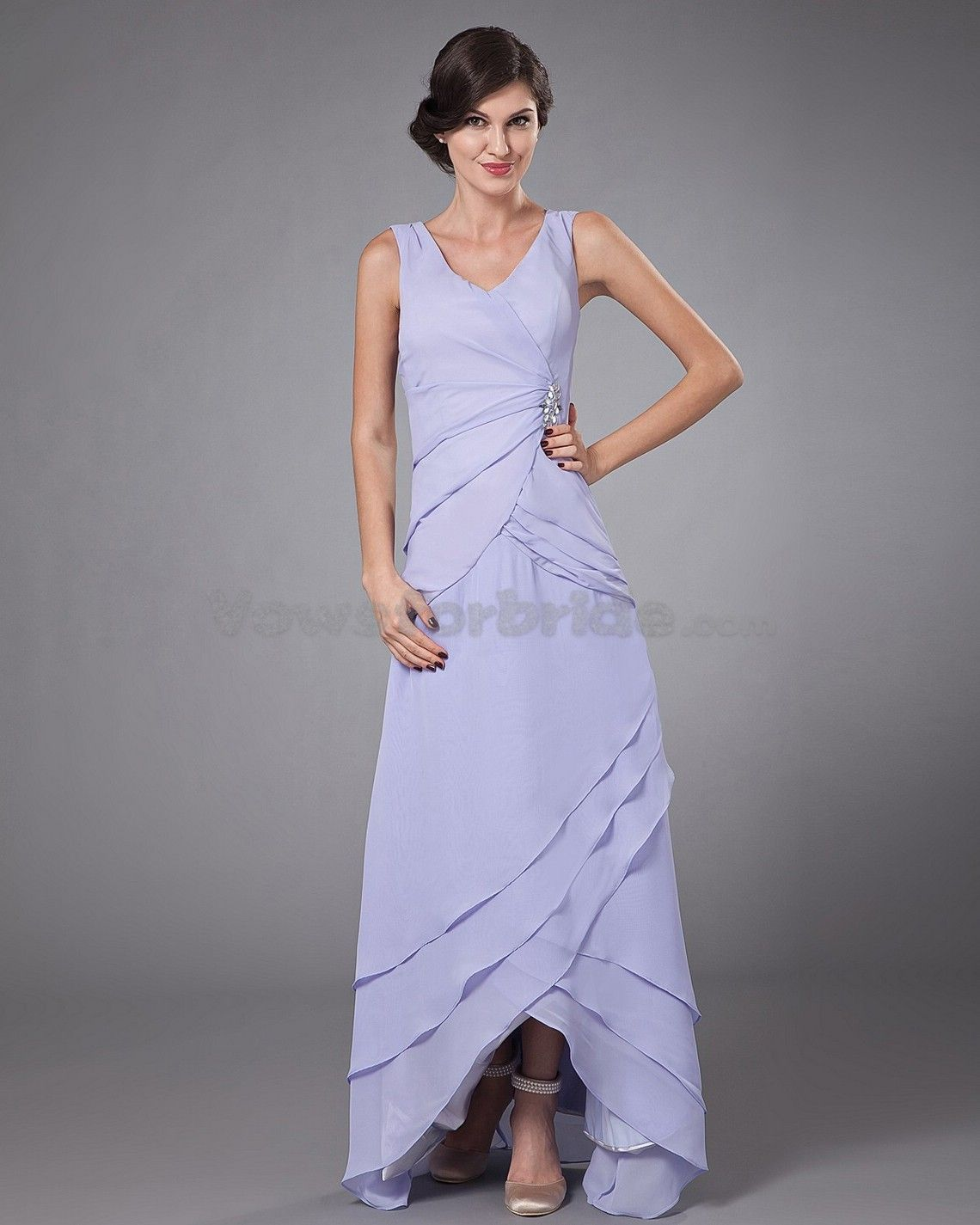 Christina Wu 22754 Tulle & Sequin V Neck Bridesmaid Dress