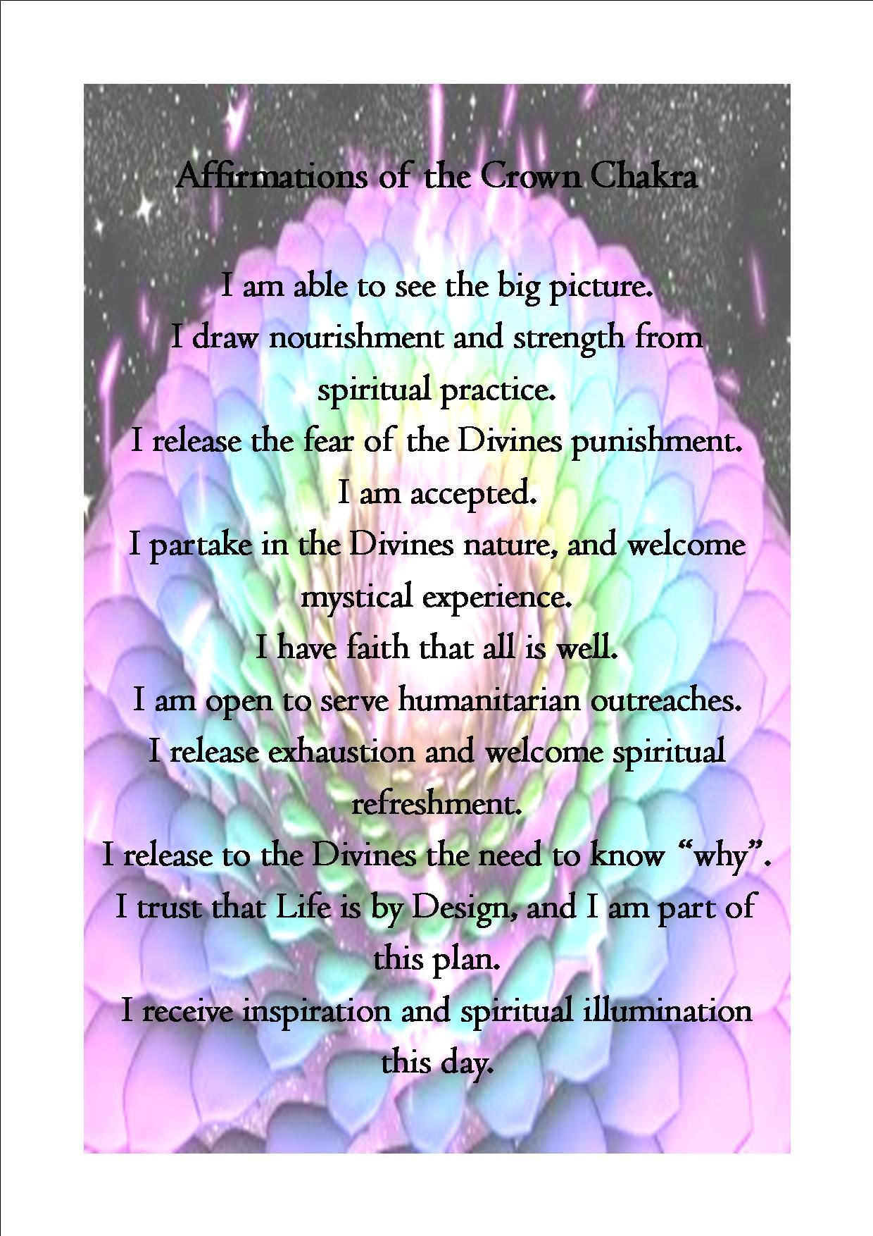 Crown Chakra Affirmations: Pic and words found online. balancedwomens.com