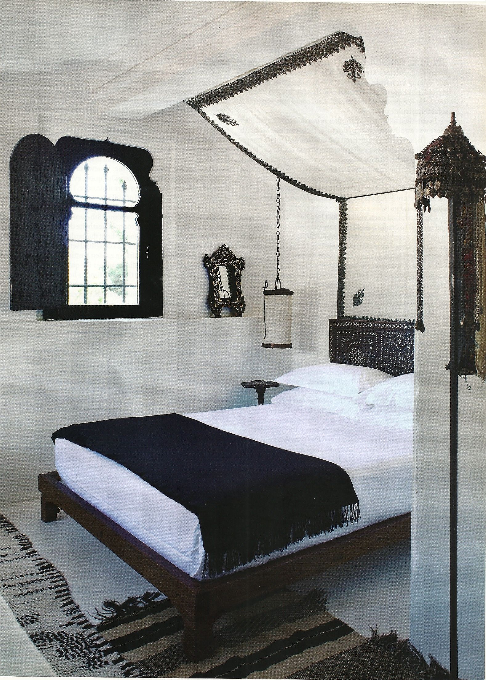 Moroccan Bed Canopy small black and white moroccan bedroom. i'm thinking it would be a