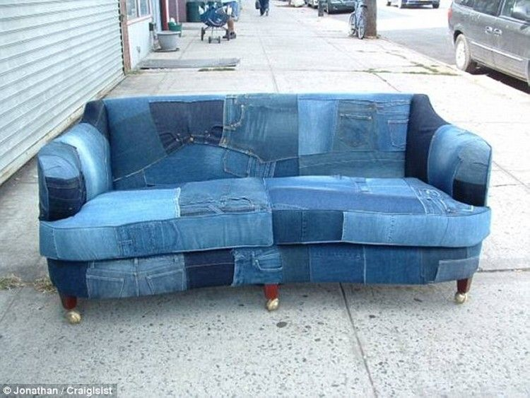 Recycled denim jeans sofa covers denim sofa sofa covers and recycle things Denim couch and loveseat